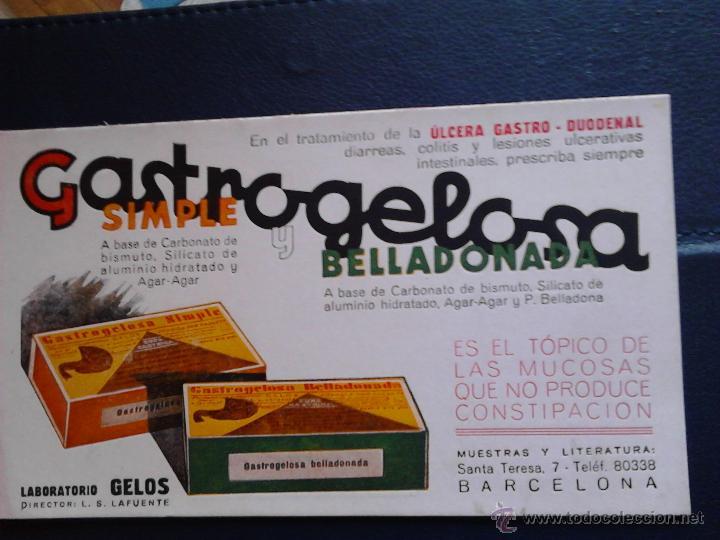 GASTROGELOSA SIMPLE Y BELLADONADA (Coleccionismo - Papel Secante)