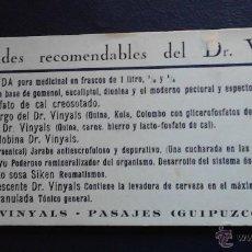 Coleccionismo Papel secante: ESPECIALIDADES RECOMENDABLES DEL DR. VINYALS PASAJES GUIPUZCOA. Lote 47078670
