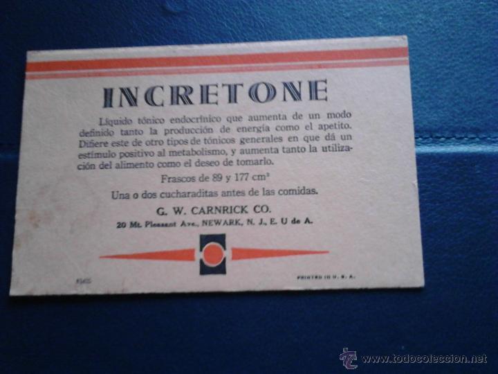 INCRETONE G.W. CARNIRICK CO. U.S.A (Coleccionismo - Papel Secante)