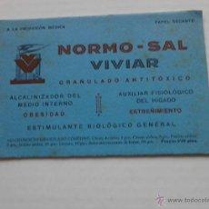 Coleccionismo Papel secante: NORMO-SAL VIVIAR GRANULADO ANTITÓXICO . Lote 47078730