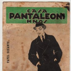 Coleccionismo Papel secante: PANTALEONI HERMANOS. SASTRERIA. BARCELONA .1915. Lote 47091279
