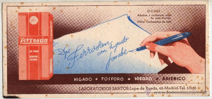 FERROSAN. LABORATORIOS SANTOS.MADRID (Coleccionismo - Papel Secante)