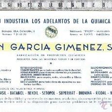 Coleccionismo Papel secante: PAPEL SECANTE PUBLICIDAD EMPRESA QUIMICA-JUAN GARCIA GIMENEZ,S.A.BARCELONA.. Lote 47121533