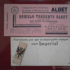 Coleccionismo Papel secante: LOTE DE 2 PAPEL SECANTE IMPERIAL Y PAPEL Y PASTAS FILTRO ROMULO TORRENTS ALBET BARCELONA. Lote 47153009