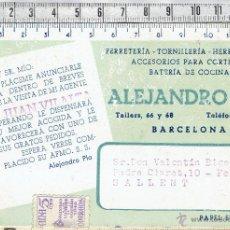 Coleccionismo Papel secante: PAPEL SECANTE PUBLICIDAD EMPRESA FERRETERIA TORNILLERIA ALEJANDRO PLA-BARCELONA.. Lote 47837072