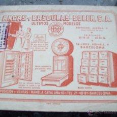 Coleccionismo Papel secante: SECANTE, ARCAS Y BASCULAS SOLER . Lote 47961858