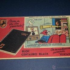 Coleccionismo Papel secante: ANTIGUO SECANTE PERSONAJES DE LA REVISTA INFANTIL PULGARCITO, BLOC CENTAURO BLACK. Lote 183810902