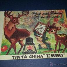 Coleccionismo Papel secante: PAPEL SECANTE PUBLICITARIO ,TINTA CHINA EBRO ,BAMBI Y TAMBOR. Lote 260019965