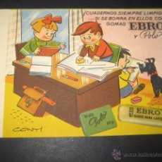 Collectionnisme Papier buvard: SECANTE GOMAS DE BORRAR EBRO Nº 1. DIBUJOS CONTI. Lote 48947325