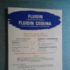 Coleccionismo Papel secante: ANTIGUO PAPEL SECANTE PUBLICIDAD MEDICAMENTO FLUIDIN - LABORATORIOS LASA . Lote 48978508