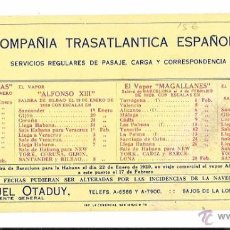 Coleccionismo Papel secante: SECANTE. COMPAÑÍA TRASATLANTICA ESPAÑOLA. 1929. Lote 49765906