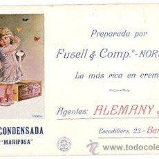Coleccionismo Papel secante: PAPEL SECANTE PUBLICITARIO LECHE CONDENSADA MARCA MARIPOSA. AÑOS 20. Lote 49840723