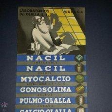 Coleccionismo Papel secante: PAPEL SECANTE PUBLICITARIO ,LABORATORIOS DR OLALLA. Lote 48819037