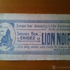 Coleccionismo Papel secante: PAPEL SECANTE PUBLICITARIO DE CREMA PARA ZAPATOS LION NOIR.....CIRCA 1900-1920. Lote 50940278