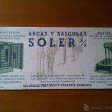 Coleccionismo Papel secante: FÁBRICA NACIONAL DE ARCAS Y BÁSCULAS SOLER. FONDO DIBUJOS COLOR VERDE. DIMENSIONES 10 X 22,5 CM. Lote 50940333