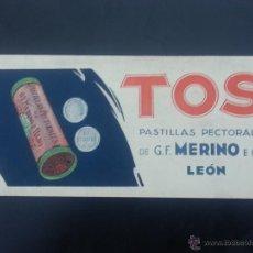 Collectionnisme Papier buvard: SECANTE PUBLICITARIO DE PASTILLAS PECTORAES DE MERINO E HIJO.LEON. Lote 51086905