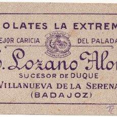 Collectionnisme Papier buvard: VILLANUEVA DE LA SERENA . SECANTE CHOCOLATES LA EXTREMEÑA. Lote 51240631