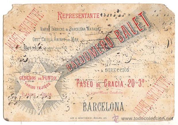 PAPEL SECANTE BALDOMERO BALET. BARCELONA. CIRCA 1920 (Coleccionismo - Papel Secante)
