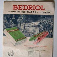 Coleccionismo Papel secante: LABORATORIOS LASA BEDRIOL RESFRIADOS . Lote 52280387