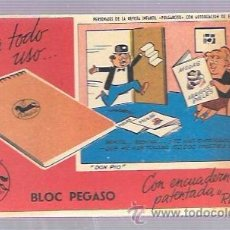 Coleccionismo Papel secante: PAPEL SECANTE. BLOC PEGASO. 9 X 15,5 CM.. Lote 52928845