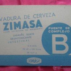 Coleccionismo Papel secante: LEVADURA DE CERVEZA. ZIMASA.. Lote 52943083