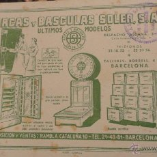 Coleccionismo Papel secante: PAPEL SECANTE.PUBLICIDAD ARCAS Y BASCULAS SOLER,S.A.SELLADO EN EL VALLS.. Lote 54085180