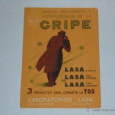 Coleccionismo Papel secante: PAPEL SECANTE - PARA EL TRATAMIENTO DE LA GRIPE . LABORATORIOS LASA. Lote 54351900