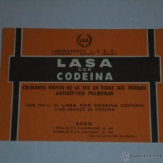 Collezionismo Carta assorbente: PAPEL SECANTE - LABORATORIOS LASA , LASA CON CODEINA. Lote 54352084
