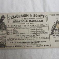 Coleccionismo Papel secante: PAPEL SECANTE, EMULSION DE SCOTT HIGADO DE BACALAO, NUEVA YORK, PERFECT PERMANENT. Lote 56369150