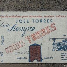 Coleccionismo Papel secante: PAPEL SECANTE 10X21 CM. PUBLICIDAD JOSE TORRES -RADIADORES TORRES - VALENCIA. Lote 56851485