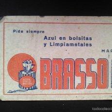 Coleccionismo Papel secante: ANTIGUO PAPEL SECANTE PUBLICIDAD LIMPIAMETALES AZUL BRASSO IMP. ZORRILLA BILBAO. Lote 57425543