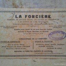 Coleccionismo Papel secante: SECANTE LA FONCIERE COMPAÑIA DE SEGUROS. 1921. Lote 59176100