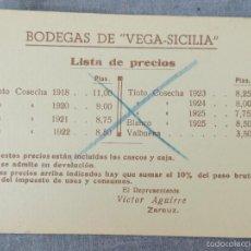 Collezionismo Carta assorbente: PAPEL SECANTE LISTA DE PRECIOS DE VINOS AÑOS 20. Lote 59517039