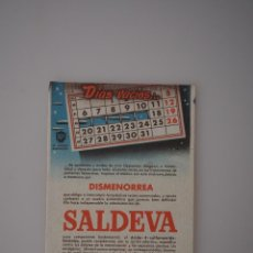 Coleccionismo Papel secante: PAPEL SECANTE ORIGINAL ANTIGUO SALDEVA, DISMENORREA, DOCTOR ANDREU. Lote 66297754