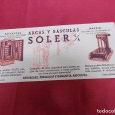 Coleccionismo Papel secante: PAPEL SECANTE. ARCAS Y BASCULAS SOLER. S/A. BARCELONA. MADRID.. Lote 72075867