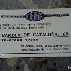 Coleccionismo Papel secante: PAPEL SECANTE. PUBLICIDAD REPRESENTACIONES VICENTE ARMENGOL RAMBLA DE CATALUÑA. Lote 76523439