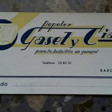 Coleccionismo Papel secante: PAPEL SECANTE. PUBLICIDAD PAPELES GASET Y CIA BARCELONA. Lote 76523595