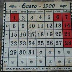 Coleccionismo Papel secante: PAPEL SECANTE. HOJA DE CALENDARIO ENERO 1900. Lote 76523895