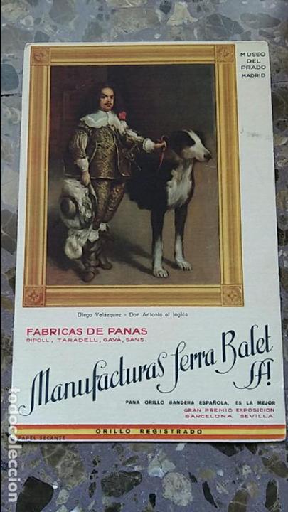 PAPEL SECANTE. PUBLICIDAD FABRICA DE PANAS MANUFACTURAS JERRA BALET. VER FOTO (Coleccionismo - Papel Secante)