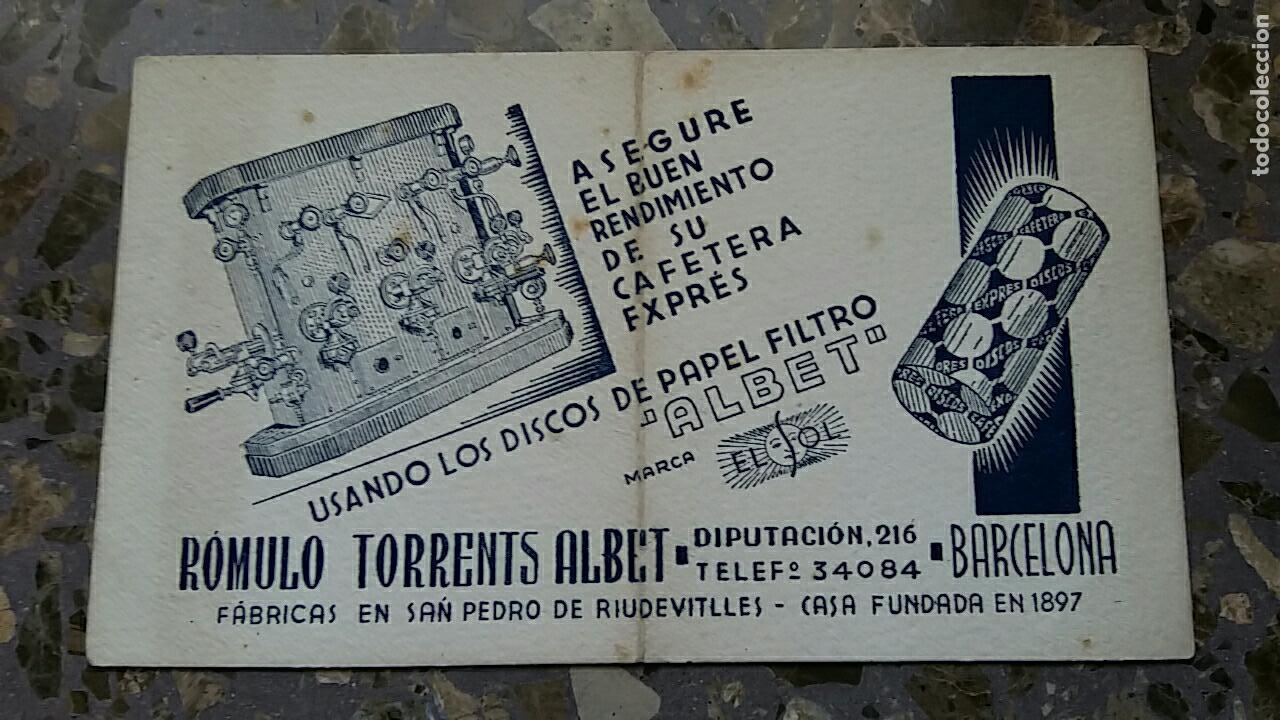 PAPEL SECANTE. PUBLICIDAD PAPEL FILTRO ALBET, ROMULO TORRENTS ALBERT. VER FOTO (Coleccionismo - Papel Secante)