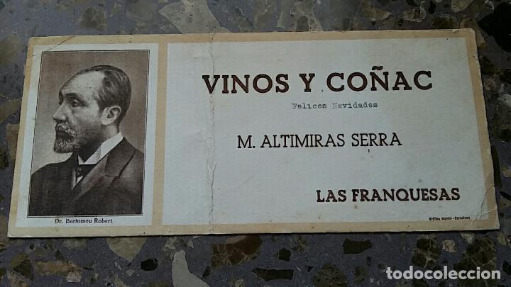 PAPEL SECANTE. PUBLICIDAD VINOS Y COÑAC M ALTIMIRAS SERRA, LAS FRANQUESAS VER FOTO (Coleccionismo - Papel Secante)