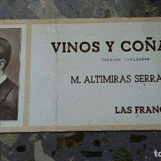 Coleccionismo Papel secante: PAPEL SECANTE. PUBLICIDAD VINOS Y COÑAC M ALTIMIRAS SERRA, LAS FRANQUESAS VER FOTO. Lote 76524507