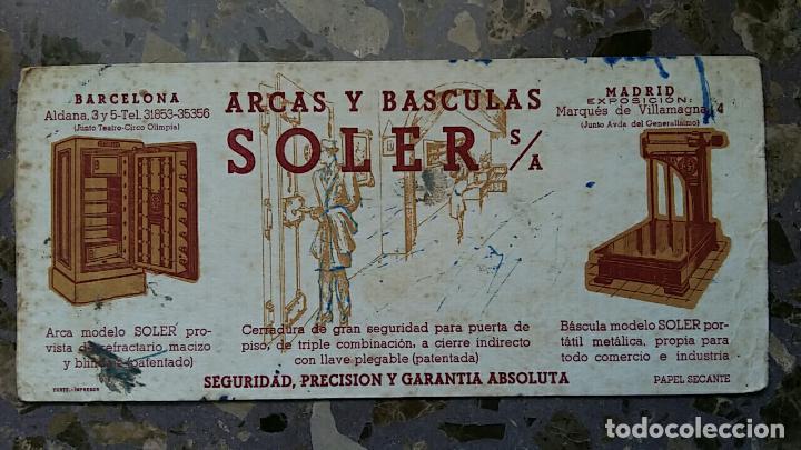 PAPEL SECANTE. PUBLICIDAD ARCAS Y BASCULAS SOLER S A, BARCELONA VER FOTO (Coleccionismo - Papel Secante)