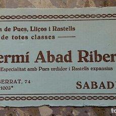 Coleccionismo Papel secante: PAPEL SECANTE. PUBLICIDAD FERMI ABAD RIBERA SABADELL, VER FOTO. Lote 76524927