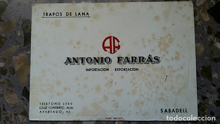 PAPEL SECANTE. PUBLICIDAD TRAPOS DE LANA ANTONIO FARRAS, SABADELL, VER FOTO (Coleccionismo - Papel Secante)