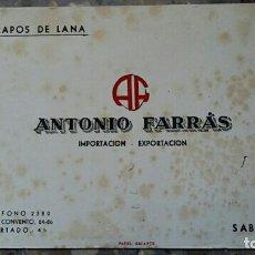 Coleccionismo Papel secante: PAPEL SECANTE. PUBLICIDAD TRAPOS DE LANA ANTONIO FARRAS, SABADELL, VER FOTO. Lote 76525143