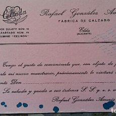 Coleccionismo Papel secante: PAPEL SECANTE. PUBLICIDAD FABRICA DE CALZADO RAFAEL GONZALEZ AMOROS, ELDA ALICANTE, VER FOTO. Lote 76525223