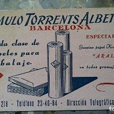 Coleccionismo Papel secante: PAPEL SECANTE. PUBLICIDAD ROMULO TORRENTS ALBET SA, BARCELONA, VER FOTO. Lote 76525559