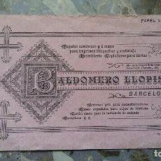 Coleccionismo Papel secante: PAPEL SECANTE. PUBLICIDAD BALDOMERO LLOPIS, BARCELONA, VER FOTO. Lote 76525963