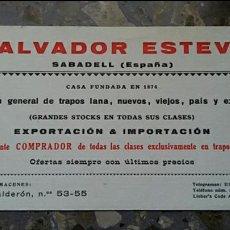 Coleccionismo Papel secante: PAPEL SECANTE. PUBLICIDAD SALVADOR ESTEVE SABADELL, VER FOTO. Lote 76526591